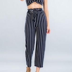 Pants - Black Striped Front Tie Pants